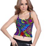 Pop Art Paisley Flowers Ornaments Multicolored Spaghetti Strap Bra Top
