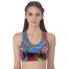 Pop Art Paisley Flowers Ornaments Multicolored Sports Bra