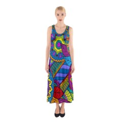 Pop Art Paisley Flowers Ornaments Multicolored Sleeveless Maxi Dress