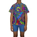 Pop Art Paisley Flowers Ornaments Multicolored Kids  Short Sleeve Swimwear