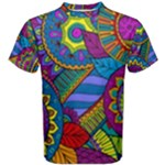 Pop Art Paisley Flowers Ornaments Multicolored Men s Cotton Tee