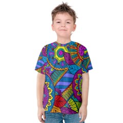 Pop Art Paisley Flowers Ornaments Multicolored Kids  Cotton Tee by EDDArt