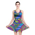 Pop Art Paisley Flowers Ornaments Multicolored Reversible Skater Dress
