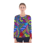 Pop Art Paisley Flowers Ornaments Multicolored Women s Long Sleeve Tee