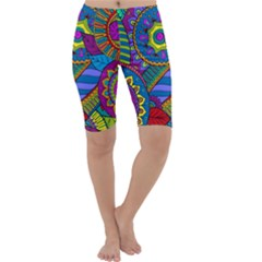 Pop Art Paisley Flowers Ornaments Multicolored Cropped Leggings  by EDDArt