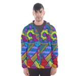 Pop Art Paisley Flowers Ornaments Multicolored Hooded Wind Breaker (Men)
