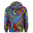 Pop Art Paisley Flowers Ornaments Multicolored Men s Pullover Hoodie View2