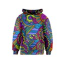 Pop Art Paisley Flowers Ornaments Multicolored Kids  Pullover Hoodie View1