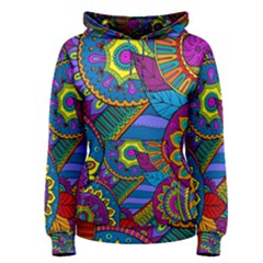 Pop Art Paisley Flowers Ornaments Multicolored Women s Pullover Hoodie