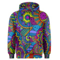 Pop Art Paisley Flowers Ornaments Multicolored Men s Zipper Hoodie