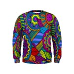 Pop Art Paisley Flowers Ornaments Multicolored Kids  Sweatshirt