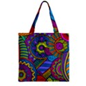 Pop Art Paisley Flowers Ornaments Multicolored Zipper Grocery Tote Bag View1