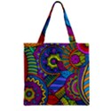 Pop Art Paisley Flowers Ornaments Multicolored Zipper Grocery Tote Bag View2