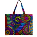 Pop Art Paisley Flowers Ornaments Multicolored Zipper Mini Tote Bag View2