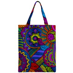 Pop Art Paisley Flowers Ornaments Multicolored Zipper Classic Tote Bag