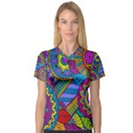 Pop Art Paisley Flowers Ornaments Multicolored Women s V-Neck Sport Mesh Tee