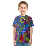 Pop Art Paisley Flowers Ornaments Multicolored Kids  Sport Mesh Tee