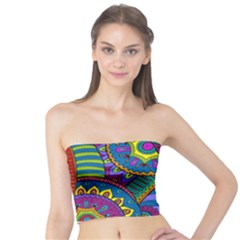 Pop Art Paisley Flowers Ornaments Multicolored Tube Top by EDDArt