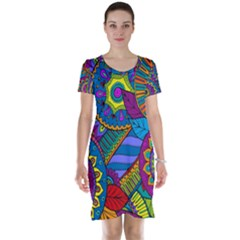Pop Art Paisley Flowers Ornaments Multicolored Short Sleeve Nightdress