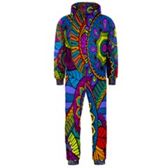 Pop Art Paisley Flowers Ornaments Multicolored Hooded Jumpsuit (men)  by EDDArt