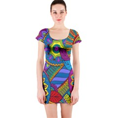 Pop Art Paisley Flowers Ornaments Multicolored Short Sleeve Bodycon Dress