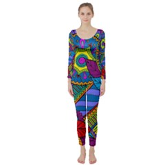 Pop Art Paisley Flowers Ornaments Multicolored Long Sleeve Catsuit by EDDArt