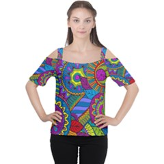 Pop Art Paisley Flowers Ornaments Multicolored Women s Cutout Shoulder Tee