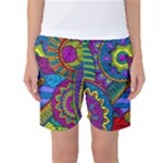 Pop Art Paisley Flowers Ornaments Multicolored Women s Basketball Shorts