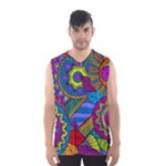 Pop Art Paisley Flowers Ornaments Multicolored Men s Basketball Tank Top