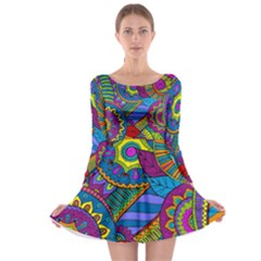Pop Art Paisley Flowers Ornaments Multicolored Long Sleeve Skater Dress