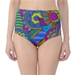 Pop Art Paisley Flowers Ornaments Multicolored High-Waist Bikini Bottoms