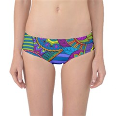 Pop Art Paisley Flowers Ornaments Multicolored Classic Bikini Bottoms by EDDArt