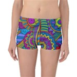 Pop Art Paisley Flowers Ornaments Multicolored Reversible Boyleg Bikini Bottoms