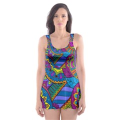 Pop Art Paisley Flowers Ornaments Multicolored Skater Dress Swimsuit