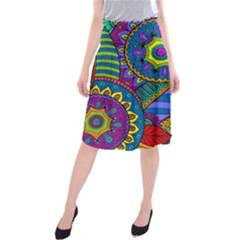 Pop Art Paisley Flowers Ornaments Multicolored Midi Beach Skirt by EDDArt