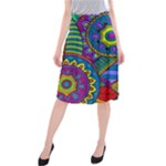 Pop Art Paisley Flowers Ornaments Multicolored Midi Beach Skirt