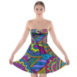 Pop Art Paisley Flowers Ornaments Multicolored Strapless Bra Top Dress