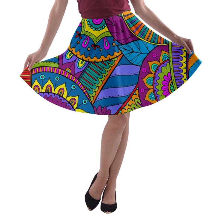 Pop Art Paisley Flowers Ornaments Multicolored A-line Skater Skirt