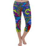 Pop Art Paisley Flowers Ornaments Multicolored Capri Yoga Leggings