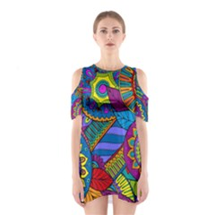 Pop Art Paisley Flowers Ornaments Multicolored Cutout Shoulder Dress