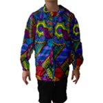 Pop Art Paisley Flowers Ornaments Multicolored Hooded Wind Breaker (Kids)