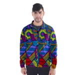 Pop Art Paisley Flowers Ornaments Multicolored Wind Breaker (Men)