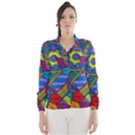 Pop Art Paisley Flowers Ornaments Multicolored Wind Breaker (Women)