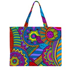Pop Art Paisley Flowers Ornaments Multicolored Zipper Large Tote Bag by EDDArt