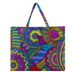 Pop Art Paisley Flowers Ornaments Multicolored Zipper Large Tote Bag