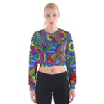 Pop Art Paisley Flowers Ornaments Multicolored Women s Cropped Sweatshirt