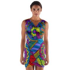 Pop Art Paisley Flowers Ornaments Multicolored Wrap Front Bodycon Dress by EDDArt