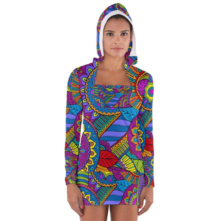Pop Art Paisley Flowers Ornaments Multicolored Women s Long Sleeve Hooded T-shirt