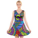 Pop Art Paisley Flowers Ornaments Multicolored V-Neck Sleeveless Skater Dress
