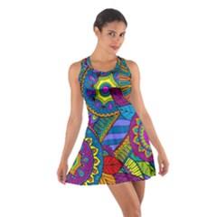 Pop Art Paisley Flowers Ornaments Multicolored Cotton Racerback Dress